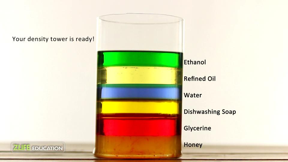 تفاوت دانسیته در مایعات مختلف